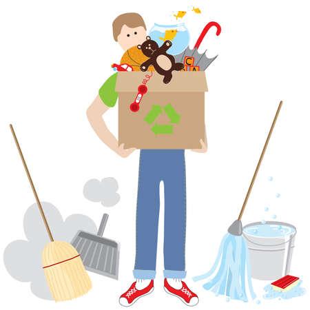 surrounded: Man holding una riciclaggio scatola piena di elementi circondati da materiale per la pulizia