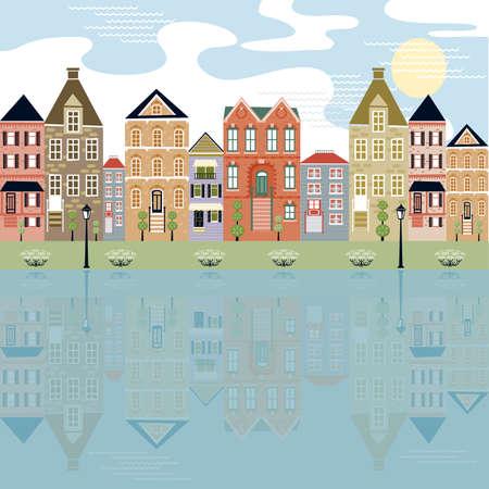 Ciudad a orillas del r�o con la reflexi�n de los edificios cute Vectores
