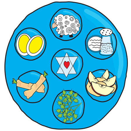 Fun Seder Passover Plate in a doodle style  Çizim
