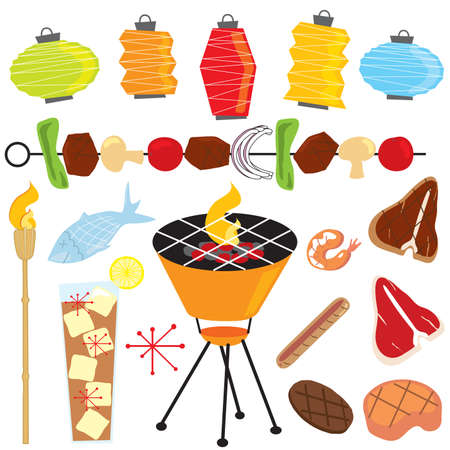 tiki party: Retro Barbeque Party with lanterns, tiki torch, food and drinks isolated on white