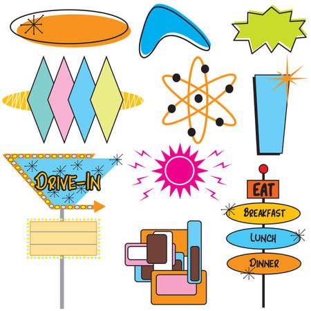 Retro Advertising Signs and symbols Banco de Imagens - 4653434