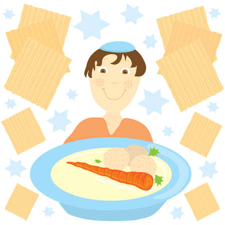 jewish: Jewish boy with a big bowl of matzo ball soup surrounded by matzos and jewish stars Illustration