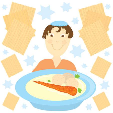 Joodse jongen met een grote kom soep matse bal omgeven door matzes en joodse Sterren