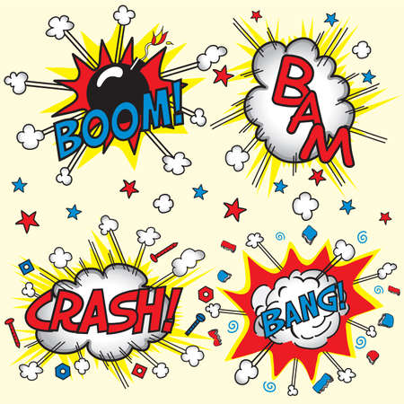 50s: Crash, Boom, Bam and Bang! Four grouped Comic book cloud bursts and explosions