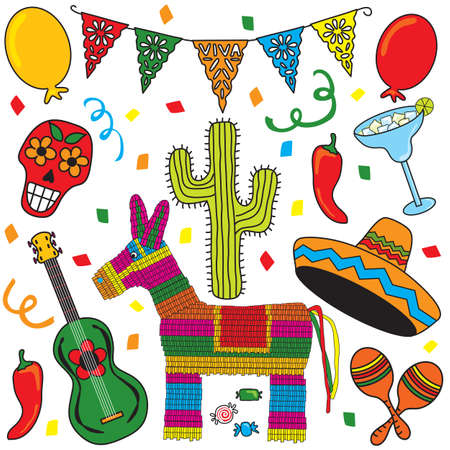 mexican fiesta: Clip art Mexican Fiesta individually grouped. Great for Cinco de Mayo!