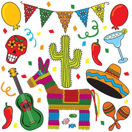 Imágenes prediseñadas Fiesta Mexicana agrupados individualmente. Excelente para el Cinco de Mayo! Foto de archivo - 4690795
