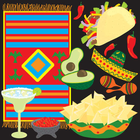 Mexican Fiesta Party Elements individually grouped Illustration