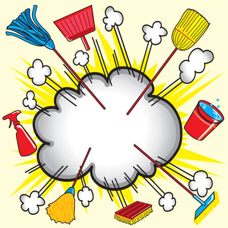 cleaning equipment: Cloud burst explosion with cleaning equipment for business or household