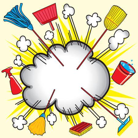 chores: Cloud uiteenspatten explosie met het reinigen van apparatuur voor zakelijke of huishoudelijke