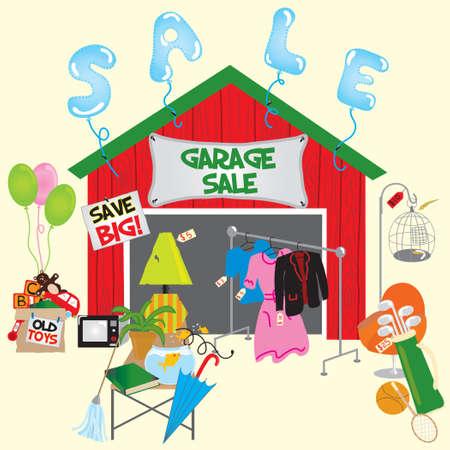 Garage Sale met veel huishoudelijke artikelen Stock Illustratie