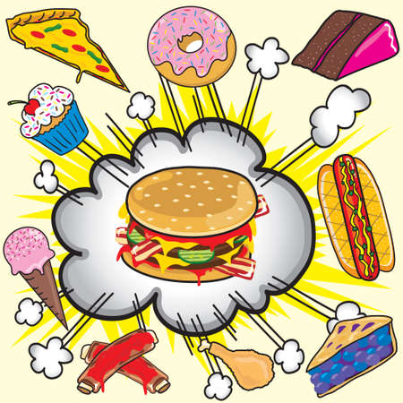 unhealthy food: Junk Food Explosion! Illustration