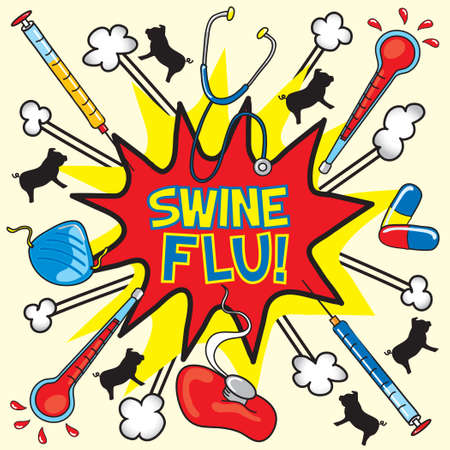 Swine Flu Explosion done in COmic book style Vector
