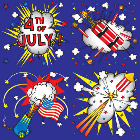 4th of july icons and explosions Vector