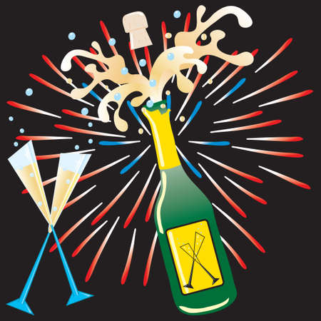 Celebrate and holidays with this fun champagne explosion and fireworks Vector