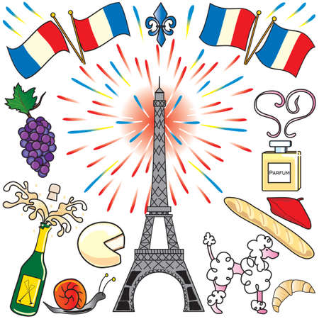 Create your own parisian party with the Eiffel Tower, fireworks, french flags, food and champagne. Perfect for Bastille Day! Vector
