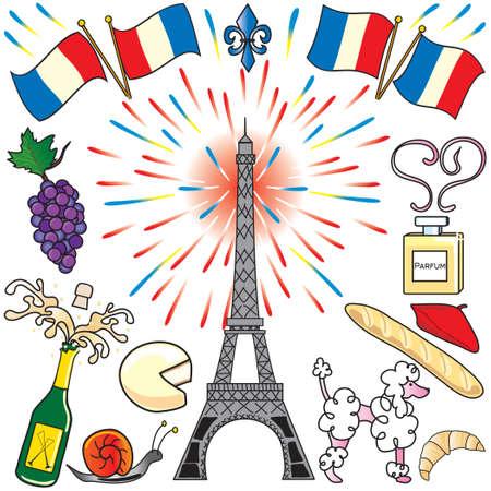 Erstellen Sie Ihre eigene Partei mit den Pariser Eiffelturm, Feuerwerk, Französisch Flaggen-, Lebensmittel-und Champagner. Perfekt für die Bastille Day! Vektorgrafik