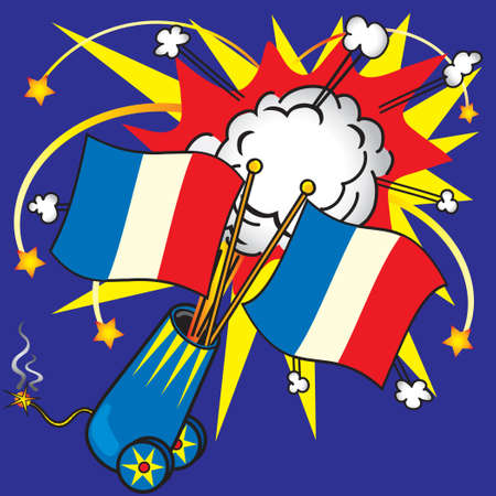 French flags bursting out of a cannon for Bastille day Vector