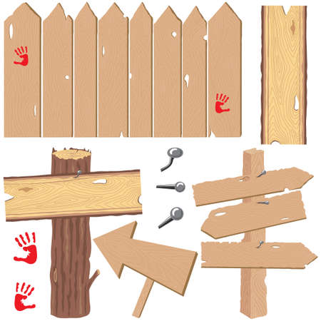 Selection of fence with knot holes, directional signs and log post with knotty plank  wood sign Vector