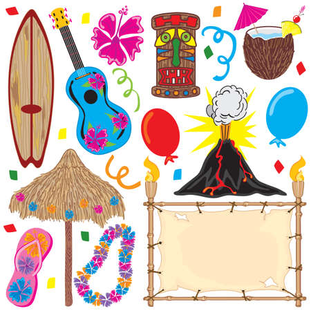 Tiki gran parte los elementos de una fiesta hawaiana! Individualmente agrupados