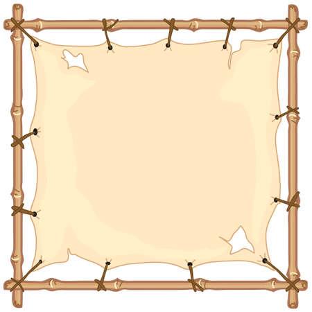 Pancarta de tela en Old marco de bambú Foto de archivo - 4945295