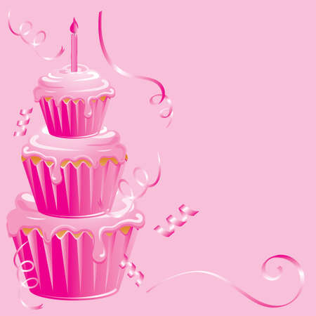 happy birthday girl: This pink birthday cupcake is perfect for a newborn baby girl Stock Photo