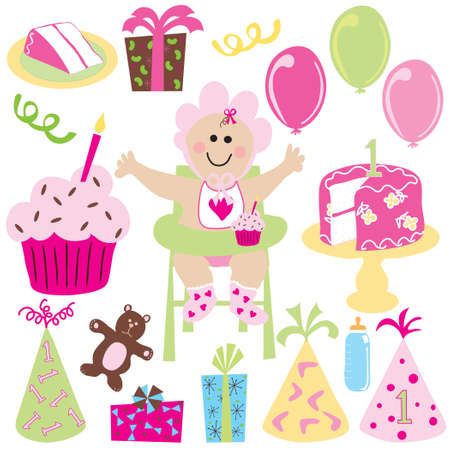 highchair: Baby girl party with balloons and gifts