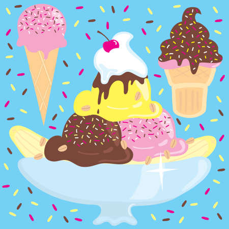 Ice cream sundae, banana split, and cones on a confetti sprinkle background