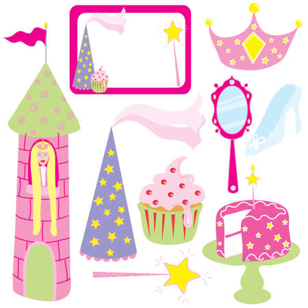cupcakes isolated: Everything you need for a little girls pink princess party Stock Photo