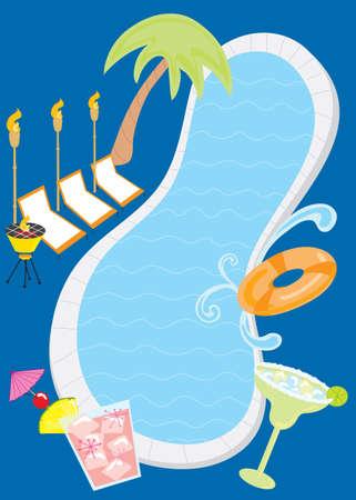 invitacion fiesta: Retro Pool Party Invitaci�n