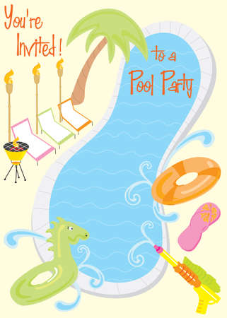 Summer Pool Party with room for text Stock Photo - 5105462