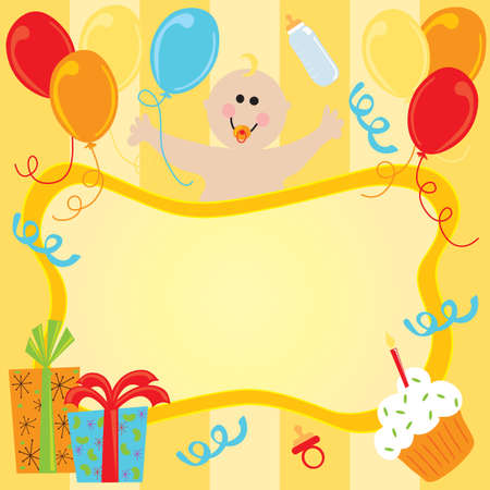 Happy Birthday Baby Invitation Stock Photo