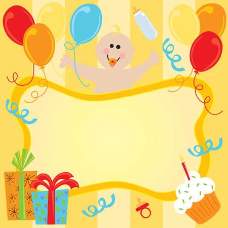 Happy Birthday Baby Uitnodiging Stockfoto