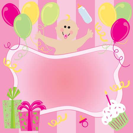 cupcake illustration: Happy Birthday Baby Girl Invitation Stock Photo