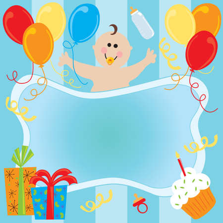 baby announcement: Happy Birthday Baby Boy Invitation Stock Photo