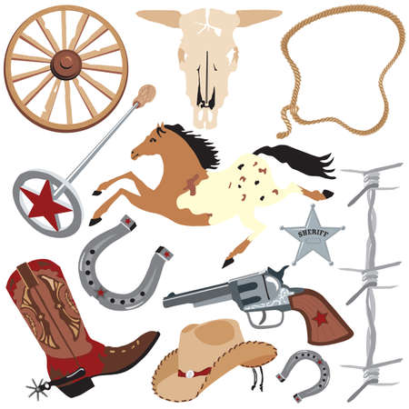appaloosa: Cowboy clip art elements, isolated on white