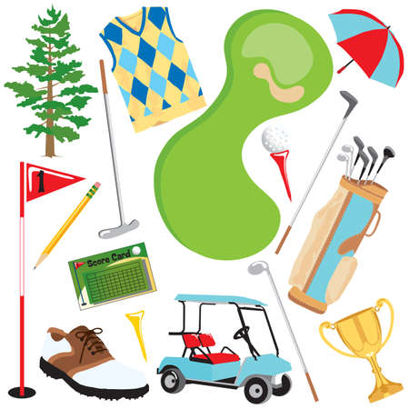 tees: Fun golf elements isolated on white