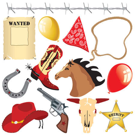cowboy gun: Cowboy Wild West Birthday Party Clip Art Illustration