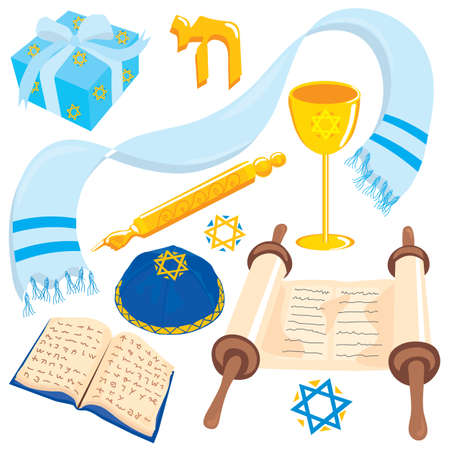 Jewish elements found at any Bar Mitzvah or Bat Mitzvah, isolated on white Ilustração