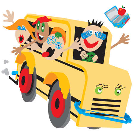 viagem: Wacky bus on a wild ride too or from school, field trip or camp.