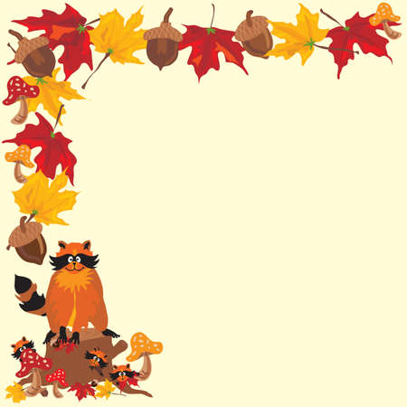 Fall Raccoon Boarder with Fall Leaves, acorns and toadstools with Mommy Raccoon and babies.  Great for a fall baby shower invitation.