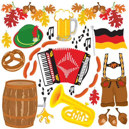 beer garden: Oktoberfest party clipart elements isolated on white
