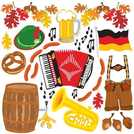 Parte Oktoberfest clipart elementos aislados en blanco
