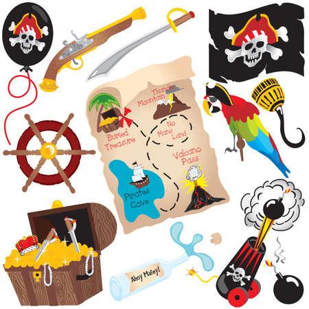 schatkaart: Pirate Birthday Party Clip Art elementen