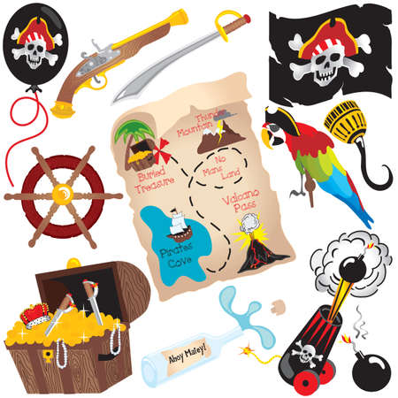 gold treasure: Pirate Birthday Party Clip art elements