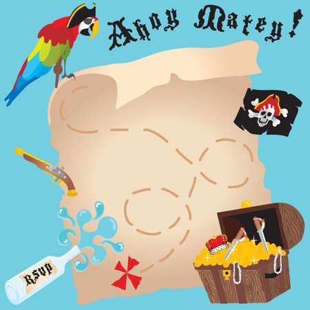 treasure hunt: Pirate Invitation Illustration