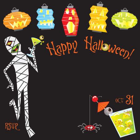 invitaci�n a fiesta: Invitaci�n a fiesta c�ctel de Halloween.  Vectores
