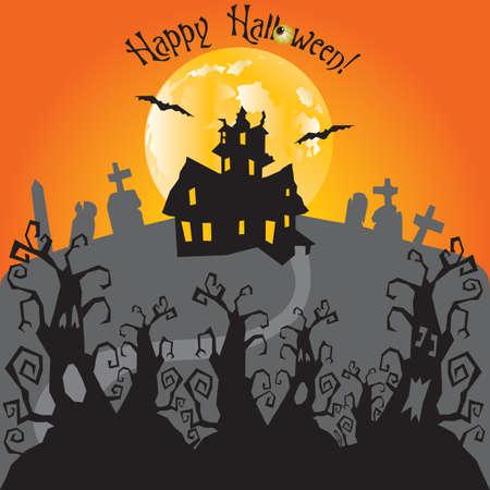 Bosque encantado con sendero que conduce a una casa embrujada y cementerio en una noche de luna llena. Espacio para el texto
