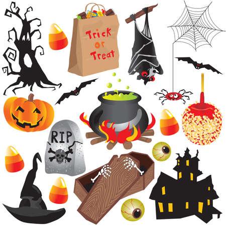 Halloween clip art partij elementen, geïsoleerd op wit