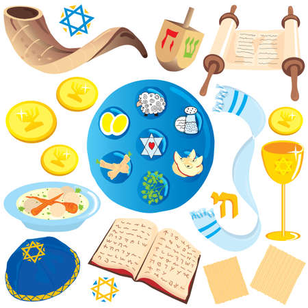 seder plate: Big variety of jewish icons and symbols isolated on white