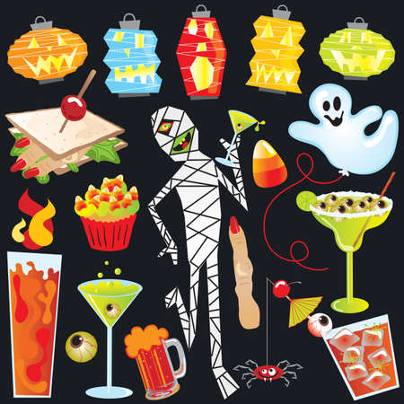 Halloween Party Clip Art with finger sandwich and creepy cocktails Vector